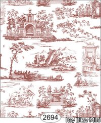 Wallpaper Rose Hill Toile Red on White