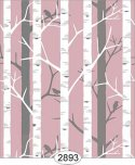 Wallpaper Birch Tree Pink Rose