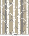 Wallpaper Birch Tree Brown Beige