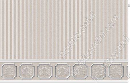 2619 ANNABELLE WAINSCOT MURAL BLACK VARIATION DOLLHOUSE WALLPAPER 1:12 SCALE