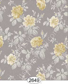 Wallpaper Rose Hill Floral Yellow on Grey Beige - Click Image to Close