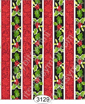 Wallpaper - Christmas Holly Stripe - Click Image to Close
