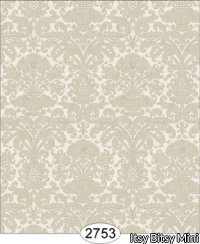Wallpaper - Annabelle Mini Reverse Damask Brown Mustard