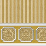 Wallpaper - Annabelle Wainscot Mural Brown Mustard