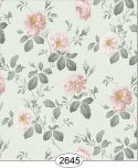Wallpaper Rose Hill Floral Pale Peach on Seafoam Green
