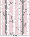 Wallpaper Birch Tree Pink Light