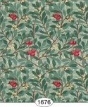 Wallpaper - Leaves and Fruit - Red and Evergreen