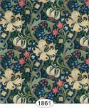 Wallpaper - Victorian Lilies - Blue Midnight