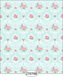 Wallpaper - Daniella Floral Damask - Blue No Border