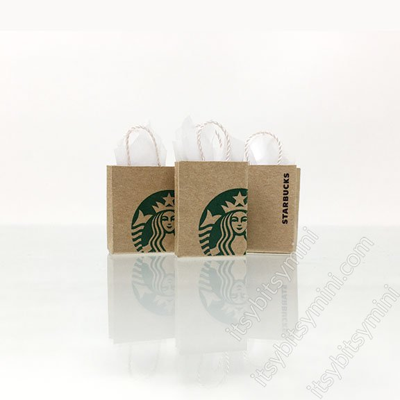 Starbucks Shopping Bag Dollhouse Miniature - Click Image to Close