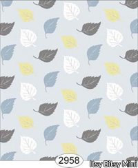 Wallpaper Birch Leaf Toss Blue Yellow White