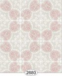 Wallpaper Rose Hill Tile Pink on Grey
