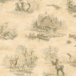 Wallpaper - Camping Toile - Green