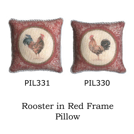 Pillow - Rooster in Red Frame A