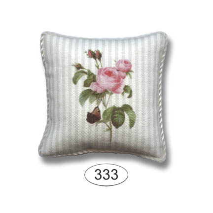 Pillow - Botanical Rose on White Stripe