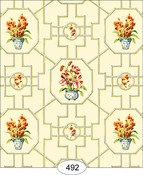 Wallpaper - Floral Trellis - Yellow