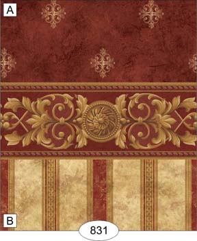Wallpaper - Medallion - Burgundy