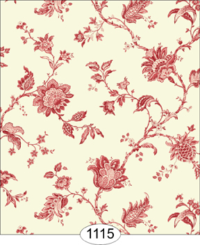 Wallpaper - Cottage 2 - Jacobean - Red on Ivory