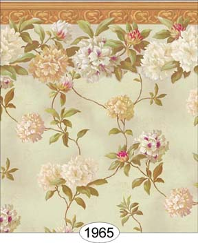 Wallpaper - Rhododendron Vine with Border - Seafoam Green