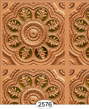 Medallion Panel Paper Gold with Green