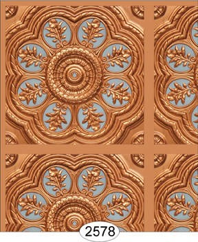 Medallion Panel Paper Gold with Sky Blue