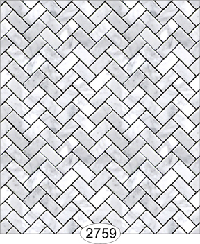 Wallpaper - Carrara Marble Herringbone Tile - Light Gray Small