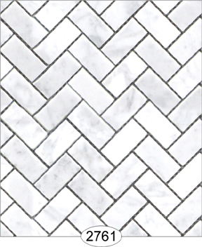 Wallpaper - Carrara Marble Herringbone Tile - White Large