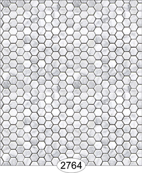 Wallpaper - Carrara Marble Hexagon Tile - Light Gray