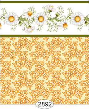 Wallpaper - Daisy Green Border - Leaves Yellow Gold