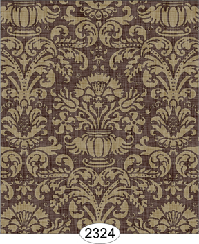 Wallpaper - Annabelle Damask Brown Chocolate