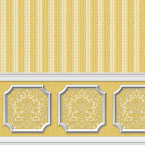 Wallpaper - Annabelle Wainscot Mural Yellow Gold