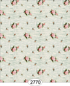 Wallpaper - Rose Crackle Cream on Blue