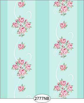 Wallpaper - Daniella Floral Stripe - Blue No Border