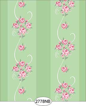 Wallpaper - Daniella Floral Stripe - Green No Border