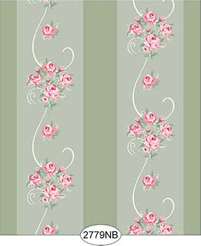 Wallpaper - Daniella Floral Stripe - Olive No Border