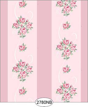 Wallpaper - Daniella Floral Stripe - Pink No Border