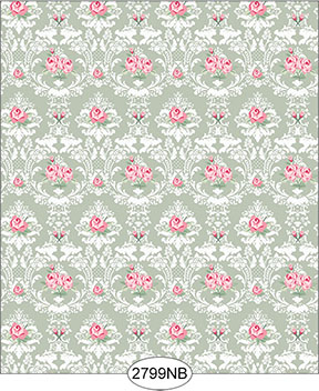 Wallpaper - Daniella Floral Damask - Olive No Border